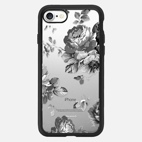 Black Floral Amour iPhone 7 Monochrome Flowers - Classic Grip Case