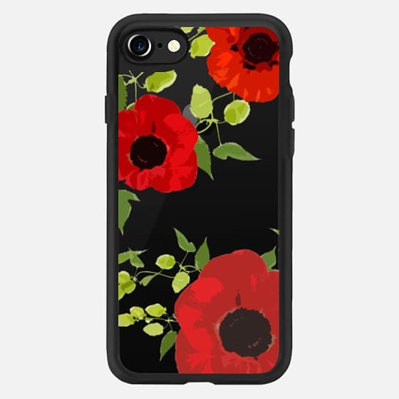 Poppy Floral Vine Leaf JetBlack Design -