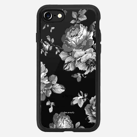 Black Floral Amour iPhone 7 Monochrome Flowers - Classic Grip Case