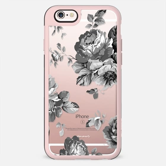 Black Floral Amour iPhone 7 Monochrome Flowers