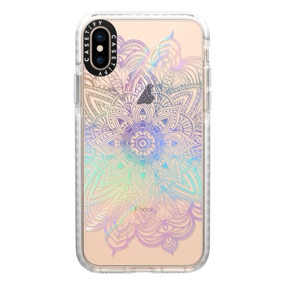iPhone XS Cases - Rainbow Holographic Mandala Lace Explosion