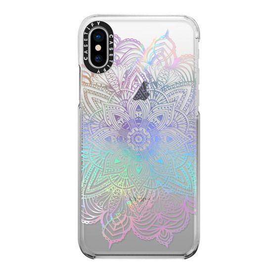 iPhone X Cases - Rainbow Holographic Mandala Lace Explosion