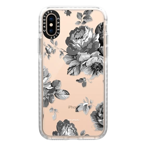 iPhone XS Cases - Black Floral Amour iPhone 7 Monochrome Flowers