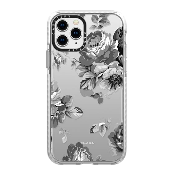iPhone 11 Pro Cases - Black Floral Amour iPhone 7 Monochrome Flowers