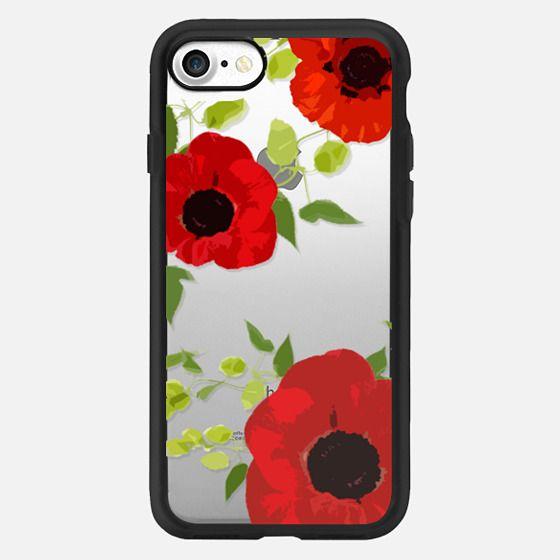 Poppy Floral Vine Leaf JetBlack Design - Classic Grip Case
