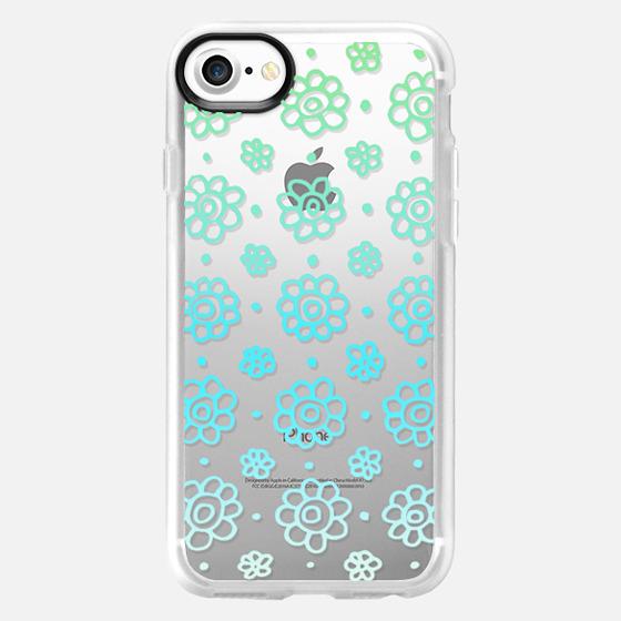Summer Flowers Blue Lace Pattern - Wallet Case