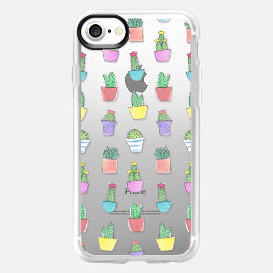 Little Watercolour Cacti Pattern (Transparent) - Wallet Case