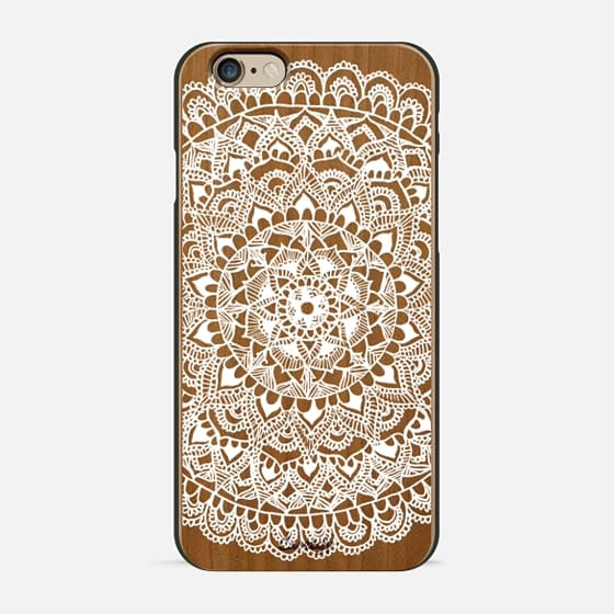 White Mandala on Wood - Wood Case