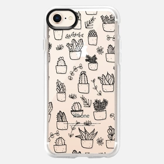 Potted Plants (Black on Clear) - Snap Case