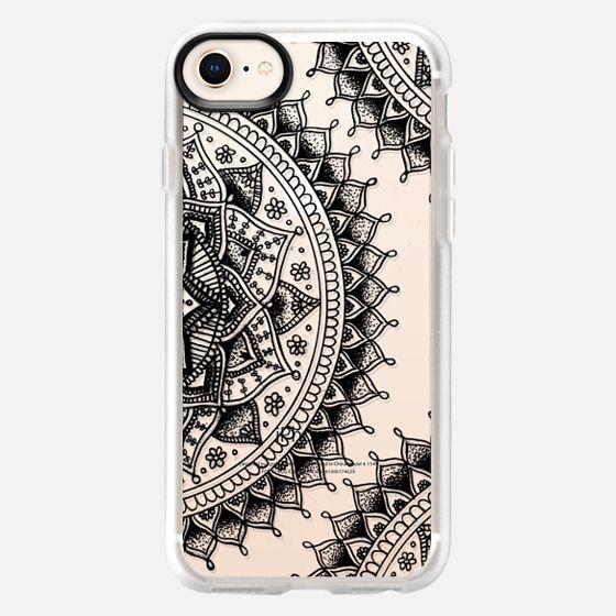 Pretty Lace Mandala Flowers (Transparent Black)  - Snap Case