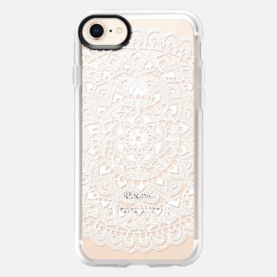 White Mandala Lace Pattern - Snap Case
