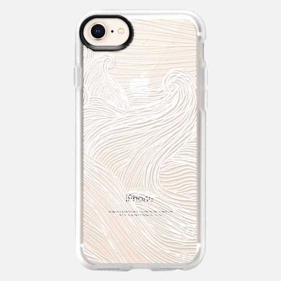 Crashing Waves at Night (Transparent White) - Snap Case