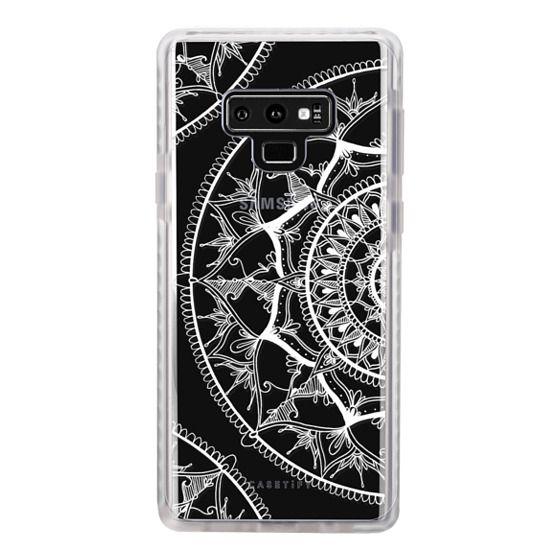 Samsung Galaxy Note 9 Cases - White Circle Mandala 1#