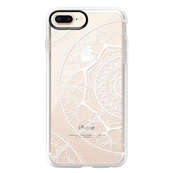 iPhone 8 Plus Cases - White Circle Mandala 1#