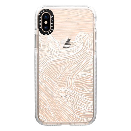 iPhone XS Cases - Crashing Waves at Night (Transparent White)