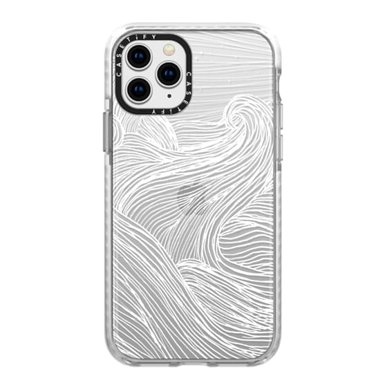 iPhone 11 Pro Cases - Crashing Waves at Night (Transparent White)