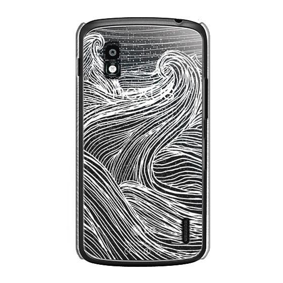 Nexus 4 Cases - Crashing Waves at Night (Transparent White)