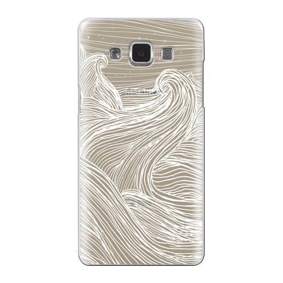 Samsung Galaxy A5 Cases - Crashing Waves at Night (Transparent White)