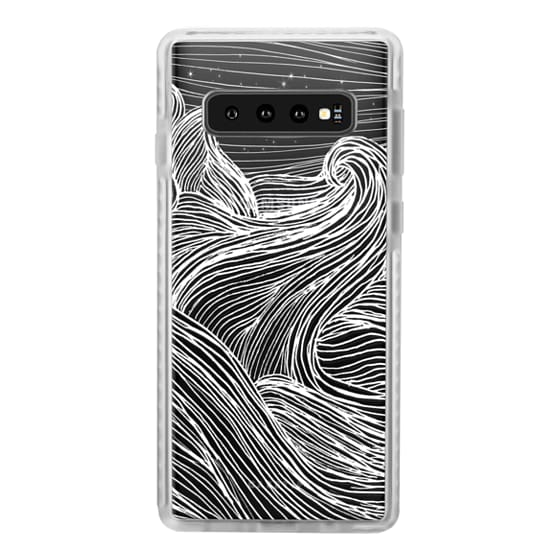 Samsung Galaxy S10 Cases - Crashing Waves at Night (Transparent White)