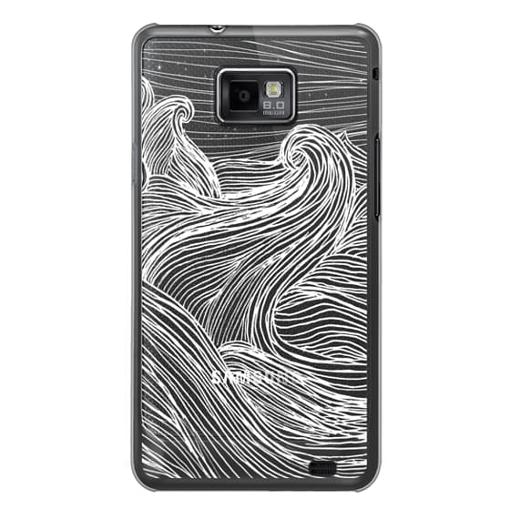 Samsung Galaxy S2 Cases - Crashing Waves at Night (Transparent White)