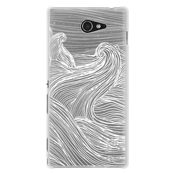 Sony M2 Cases - Crashing Waves at Night (Transparent White)