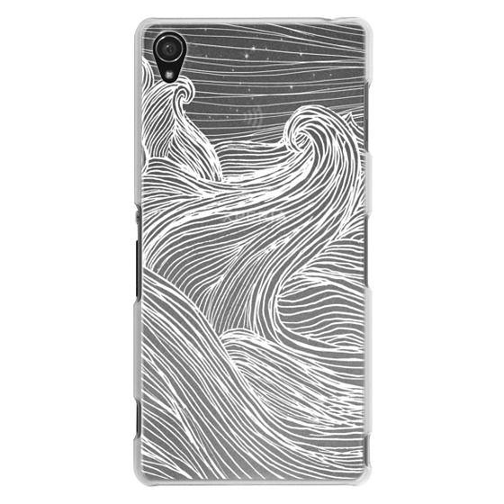 Sony Z3 Cases - Crashing Waves at Night (Transparent White)