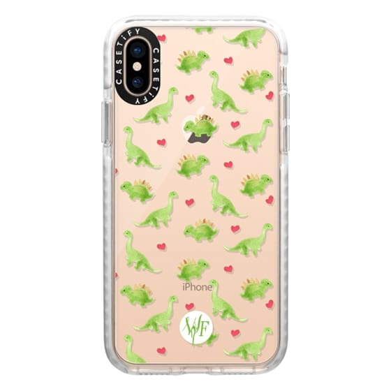 iPhone XS Cases - Dinosaur Love - Transparent Case by Wonder Forest