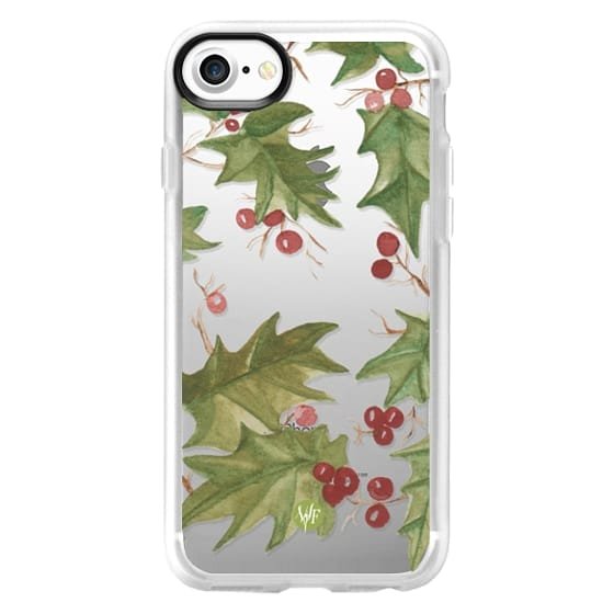 iPhone 7 Cases - Holiday Holly Clear Case by Wonder Forest