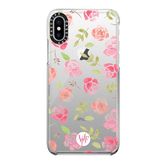 iPhone X Cases - Bed of Roses Transparent  - Watercolor Painted Case by Wonder Forest
