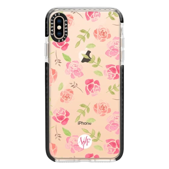 iPhone XS Max Cases - Bed of Roses Transparent  - Watercolor Painted Case by Wonder Forest
