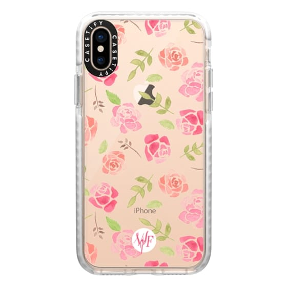 iPhone XS Cases - Bed of Roses Transparent  - Watercolor Painted Case by Wonder Forest