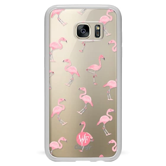 Samsung Galaxy S7 Edge Cases - Pink Flamingos by Wonder Forest Clear Case