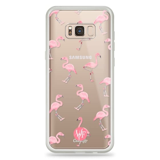 Samsung Galaxy S8 Plus Cases - Pink Flamingos by Wonder Forest Clear Case
