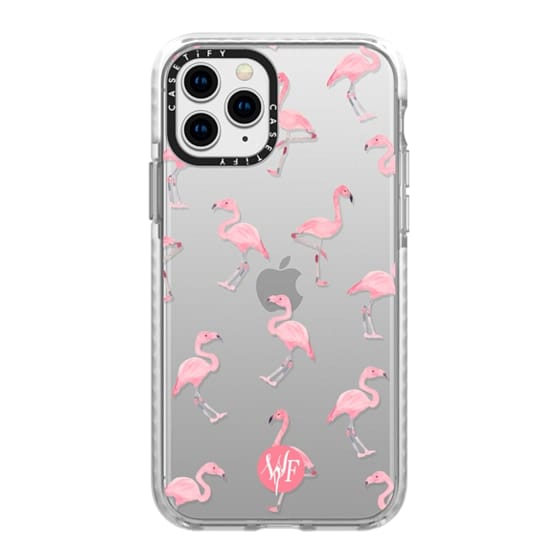 iPhone 11 Pro Cases - Pink Flamingos by Wonder Forest Clear Case