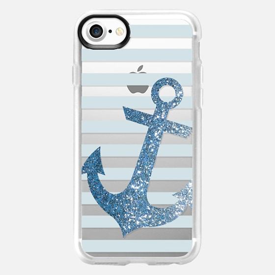 Glitter Anchor in Blue - Wallet Case