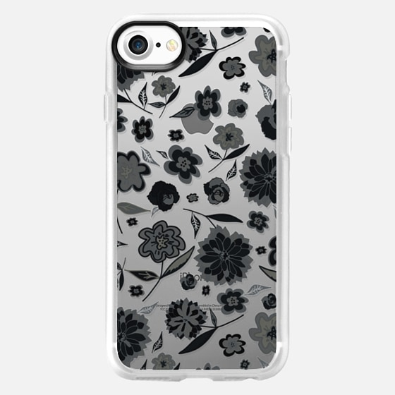 CUTE FLORAL BW- IPHONE CRYSTAL CLEAR CASE - Wallet Case
