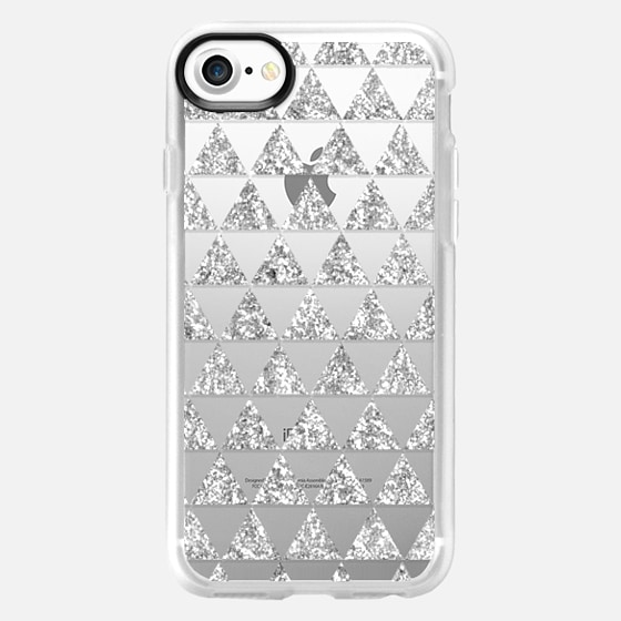 Glitter Triangles in Silver - Phone Crystal Clear Case - Wallet Case