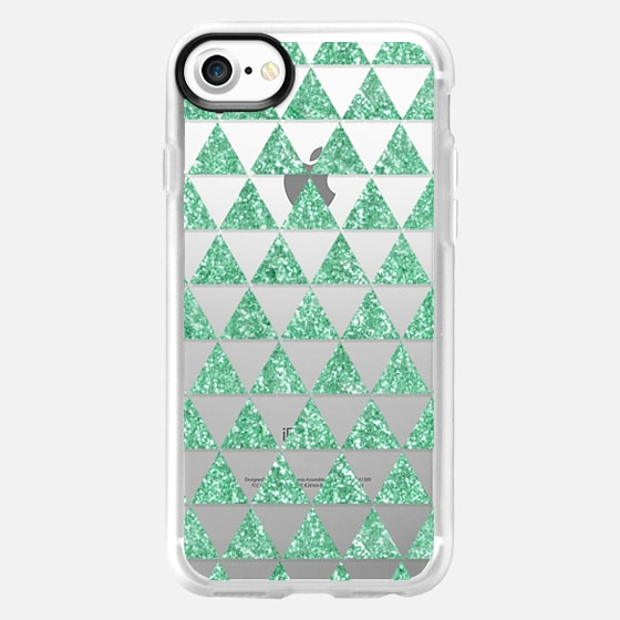 Glitter Triangles in Mint - Phone Crystal Clear Case - Wallet Case