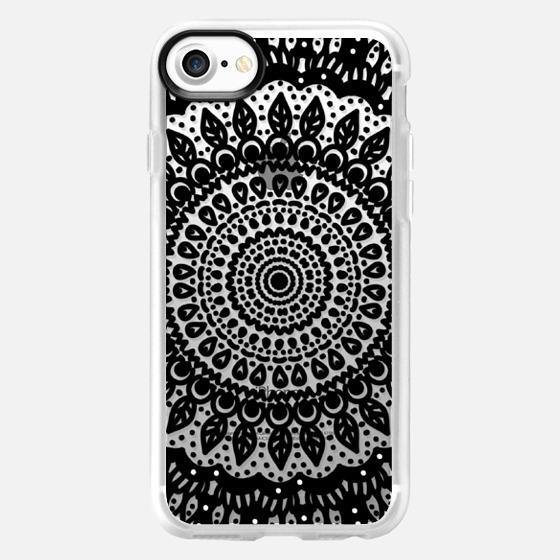 Tribal Boho Mandala in Black // Crystal Clear Phone Case - Wallet Case