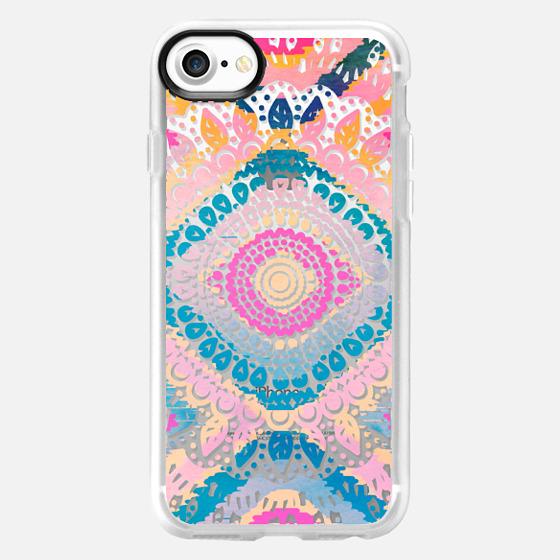 PInky Tribal Boho Mandala  // Crystal Clear Phone Case - Wallet Case