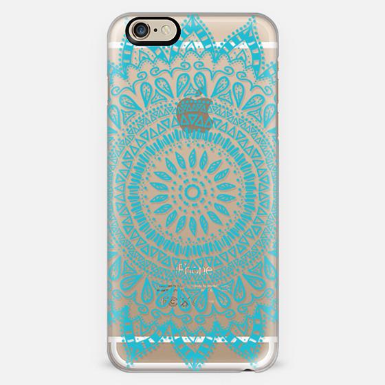 BOHEMIAN FLOWER MANDALA IN TEAL - CRYSTAL CLEAR PHONE CASE -