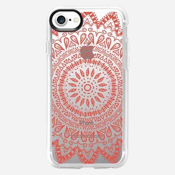 BOHEMIAN FLOWER MANDALA IN CORAL - CRYSTAL CLEAR PHONE CASE - Wallet Case