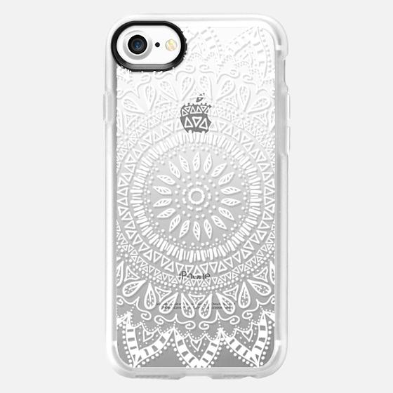 BOHEMIAN FLOWER MANDALA IN WHITE - CRYSTAL CLEAR PHONE CASE - Wallet Case