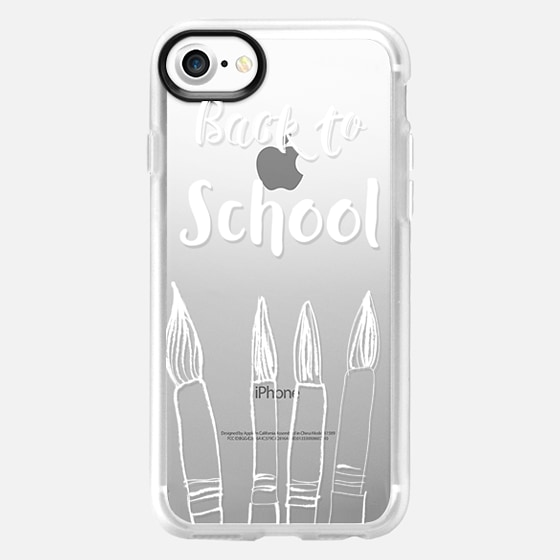 Back to School in white - crystal clear phone case - Wallet Case