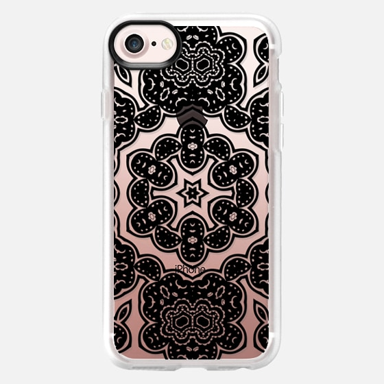 BOHO NIGHT IN BLACK - CRYSTAL CLEAR PHONE CASE - Wallet Case