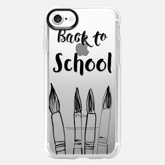 BACK TO SCHOOL in black - Crystal Clear Phone Case - Classic Grip Case