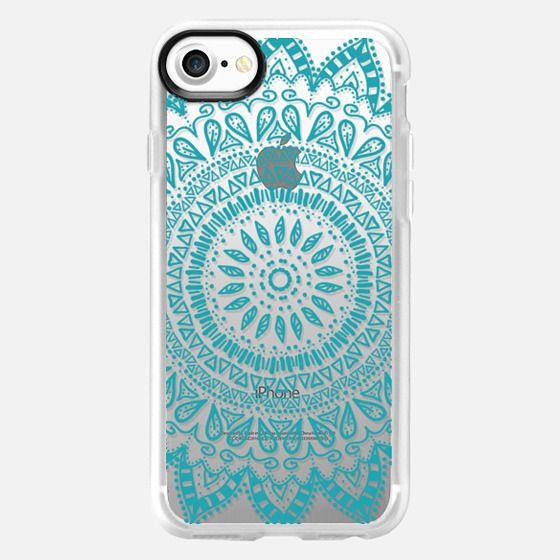 BOHEMIAN FLOWER MANDALA IN BLUE - CRYSTAL CLEAR PHONE CASE -