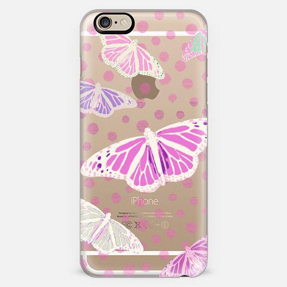 PINK SUMMER BUTTERFLIES - CYSTAL CLEAR PHONE CASE -