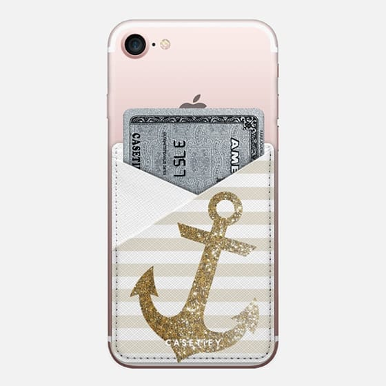 GOLD ANCHOR - LEATHER POCKET CASE - Saffiano Leather Phone Wallet