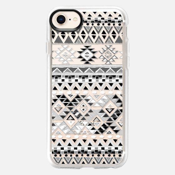 TRIBAL BOHO NATIVE - BW // CRYSTAL CLEAR PHONE CASE - Snap Case